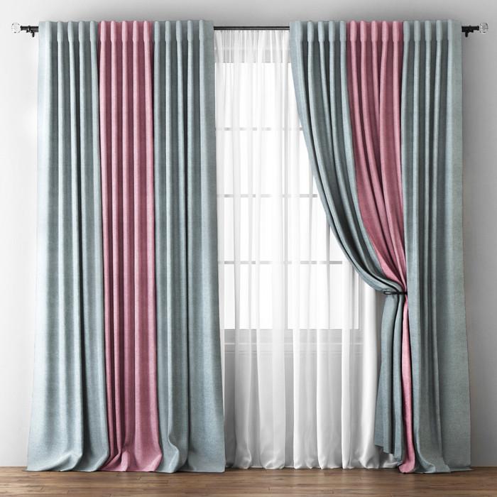 Комплект штор «Кирстен», размер 170 х 270 см, серый / розовый