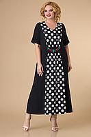 Женское осеннее черное нарядное большого размера платье Svetlana-Style 1591 черный+белый_горох 56р.