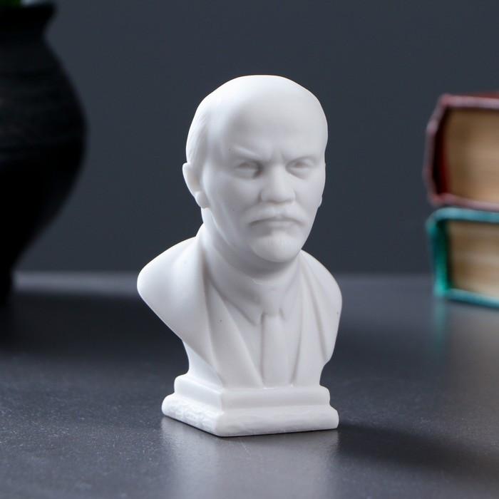 Бюст Ленин средний 9х6см, белый / мраморная крошка