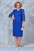 Женское осеннее кружевное синее большого размера платье Ninele 2301 василек 56р.