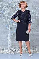 Женское осеннее кружевное синее нарядное большого размера платье Ninele 2301 синий 56р.