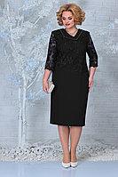 Женское осеннее кружевное черное нарядное большого размера платье Ninele 2301 черный 56р.