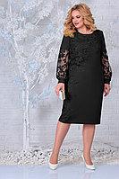 Женское осеннее кружевное черное нарядное большого размера платье Ninele 5817 черный 48р.
