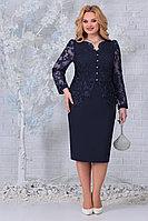 Женское осеннее кружевное синее нарядное большого размера платье Ninele 5845 синий 52р.