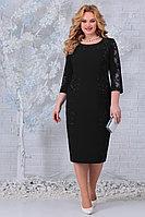 Женское осеннее кружевное черное нарядное большого размера платье Ninele 5848 черный 52р.