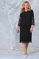 Женский осенний кружевной черный нарядный большого размера комплект с платьем Ninele 5854 черный 52р.