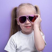 Очки солнцезащитные детские, оправа двухцветная, стёкла зеркальные, МИКС, 13 × 12.5 × 5 см