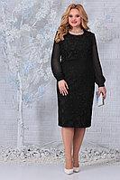 Женское осеннее шифоновое черное нарядное большого размера платье Ninele 7331 черный 52р.