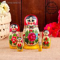 Матрёшка «Семёновская», красный платок, 5 кукольная, 11-12 см