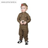 Костюм военного для мальчика: гимнастёрка, галифе, пилотка, трикотаж, хлопок 100%, рост 86 см, 1-2 года