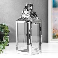 """Подсвечник металл, стекло на 1 свечу фонарик """"Ромбы-цветы"""" серебро 26х10х10 см"""