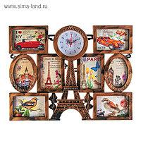 """Часы настенные, серия: Фото, """"Эйфелева башня"""", 8 фоторамок, под дерево, 55х42 см"""