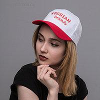 """Кепка """"Russian Beauty"""" женская, белая+красный козырек"""
