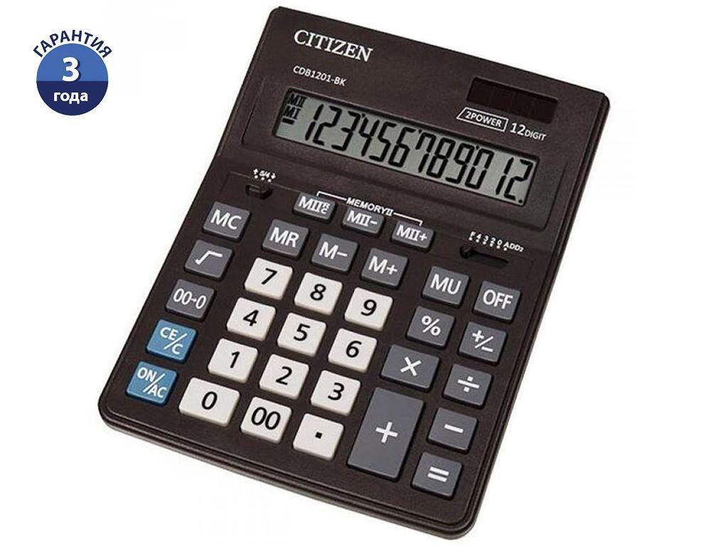 """Калькулятор настольный CITIZEN Business Line """"CDB1201-BK"""" 12-разрядный черный"""