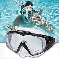 Плавательная маска высококачественная с закаленными стеклянными линзами Inteх 55981 черная