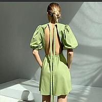 Лёгкие красивые платья с рукавом фонариком и открытой спиной