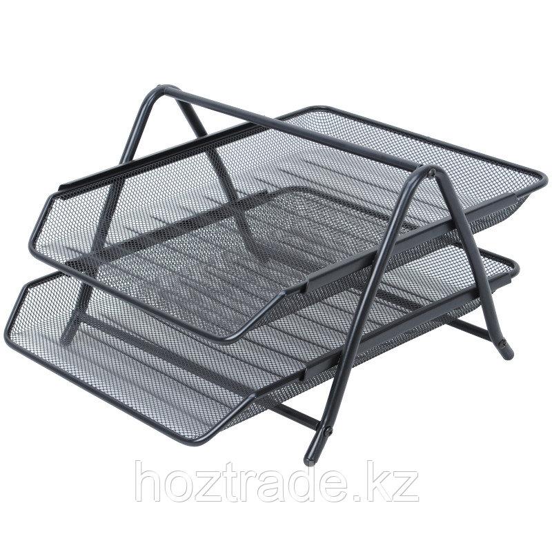 """Лоток для бумаг горизонтальный Berlingo """"Steel&Style"""", 2 секции, металл, черный"""
