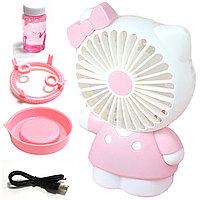 """Ручной детский вентилятор аккумуляторный 2 в 1 с набором для мыльных пузырей """"Hello Kitty"""" розовый"""