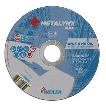 Круг отрезной Inox&Metal 125 х 1,6 х 22,23 Metalynx MAX E20A46S-BF (Weiler Abrasive, Slovenia)
