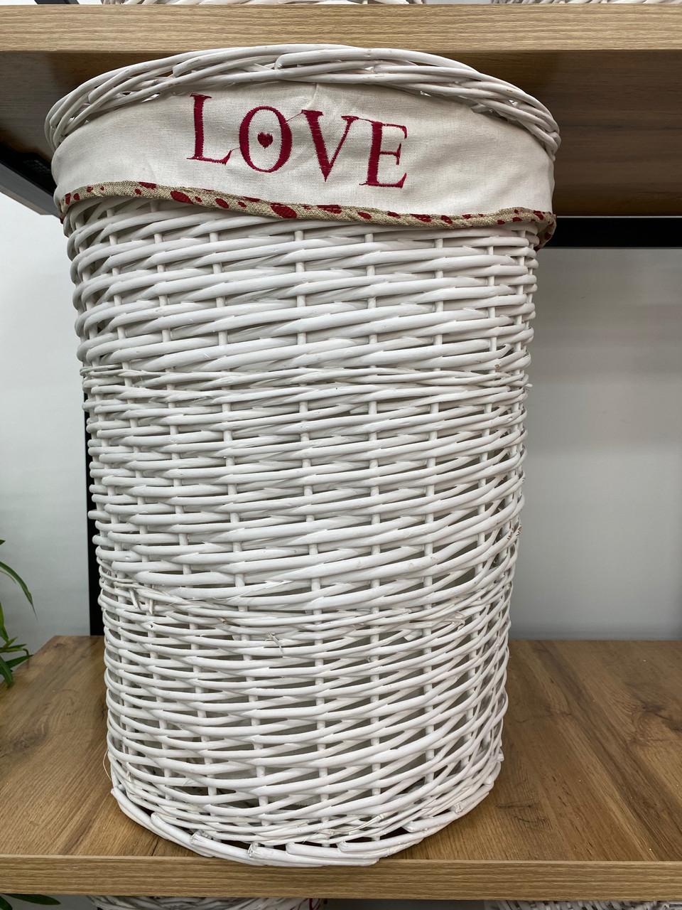 Корзина плетеная Белая круглая Ива D44 H56