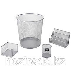 """Настольный набор из металла Berlingo """"Steel&Style"""", 4 предмета, с корзиной, серебристый"""