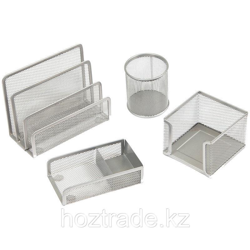 """Настольный набор из металла Berlingo """"Steel&Style"""", 4 предмета, серебристый"""
