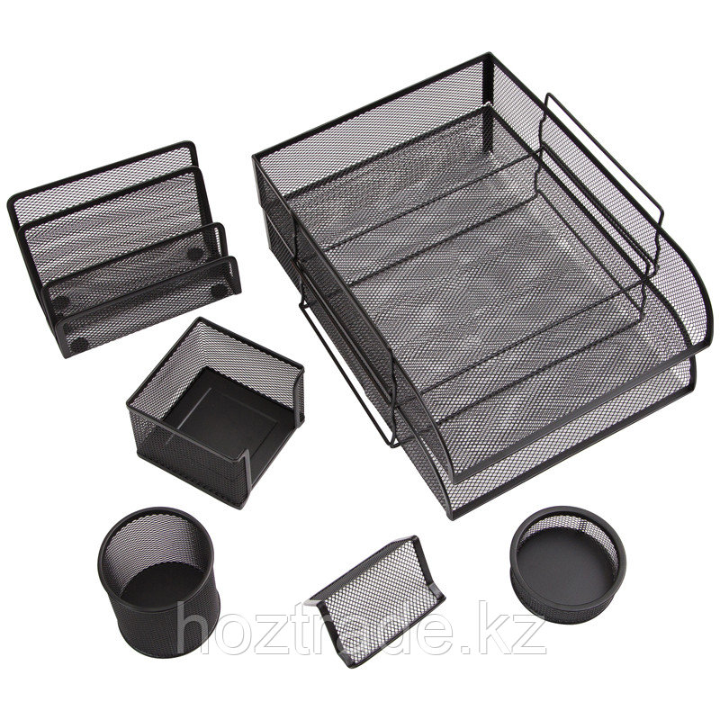 """Настольный набор из металла Berlingo """"Steel&Style"""", 7 предметов, черный"""