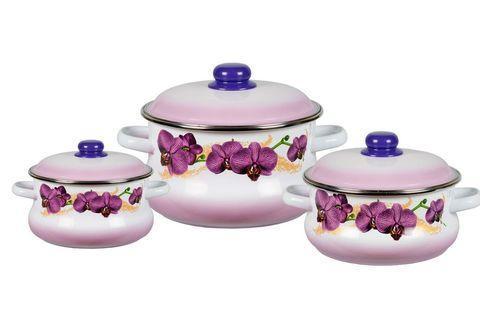 Набор эмалированных кастрюль СтальЭмаль [6 предметов] (Орхидеи), фото 2
