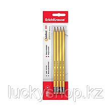 Блистер чернографитных шестигранных карандашей с ластиком ErichKrause® Amber 101 HB (4 карандаша)