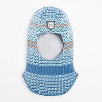 Шлем-капор для мальчика, цвет джинс, размер 44-46