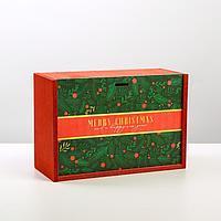 Ящик деревянный Merry Christmas, 20 × 30 × 12 см