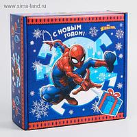 """Коробка подарочная складная """"С Новым Годом"""", Человек-паук, 24.5 × 24.5 × 9.5 см"""