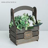 Кашпо флористическое «Исполнения желаний», серый, 15 × 21 × 31.5 см