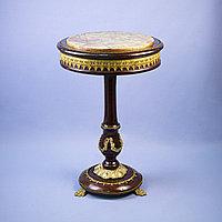Журнальный столик Италия. Середина ХХ века Орех, бронза, натуральный камень