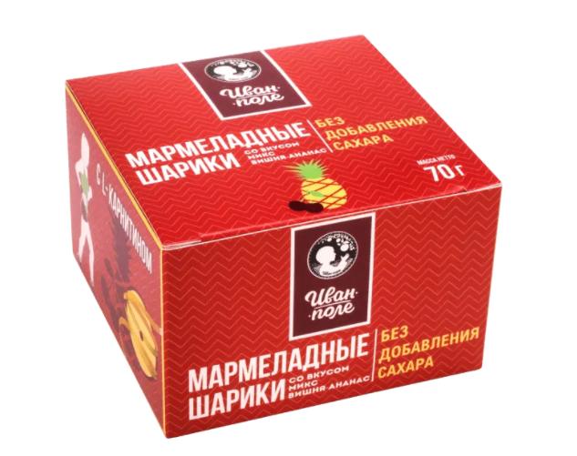 Мармеладные шарики с L-CARNITINE «Вишня-ананас» без сахара (70 г)