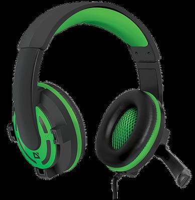 Наушники-гарнитура игровые Defender Warhead G-300, зеленый+черный