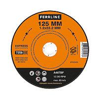 Круг отрезной по металлу FerrLine Express 125 х 1,2 х 22,2 мм A46TBF, фото 1