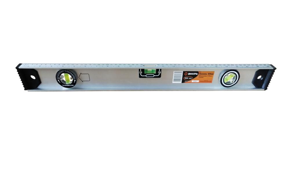 Уровень алюминиевый «Рельс» 400мм 3 глазка фрезерованный