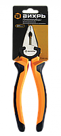 Плоскогубцы (пассатижи), 200мм., никелированные, двухкомпонентные рукоятки, Вихрь