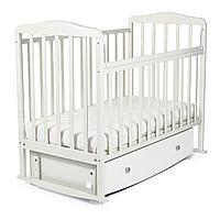 Кровать детская СКВ Митенька с ящиком и маятником, Белый