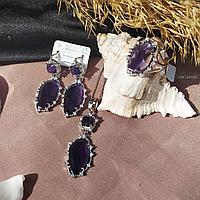 """Серебряный комплект """"Галла"""" 17р, лавандовый камень, серьги, кулон, кольцо, цепочка, подарок"""