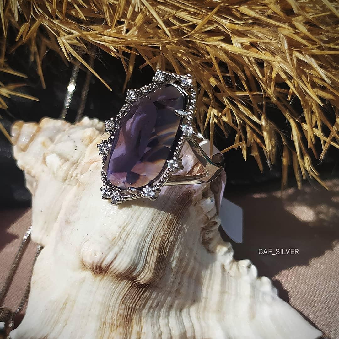 """Серебряный комплект """"Галла"""" 17р, лавандовый камень, серьги, кулон, кольцо, цепочка, подарок - фото 2"""