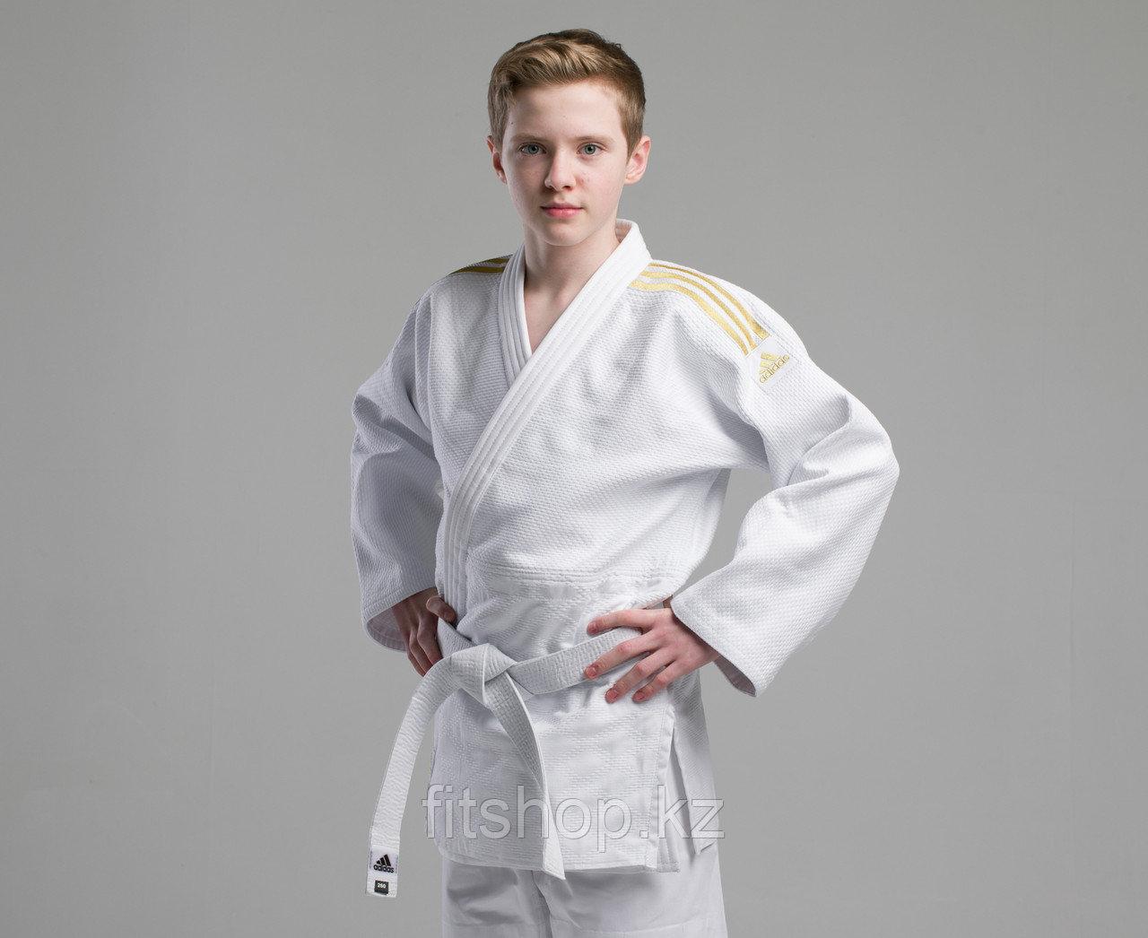 Кимоно для дзюдо Adidas Champion 2  Original IJF белое с золотыми лампасами