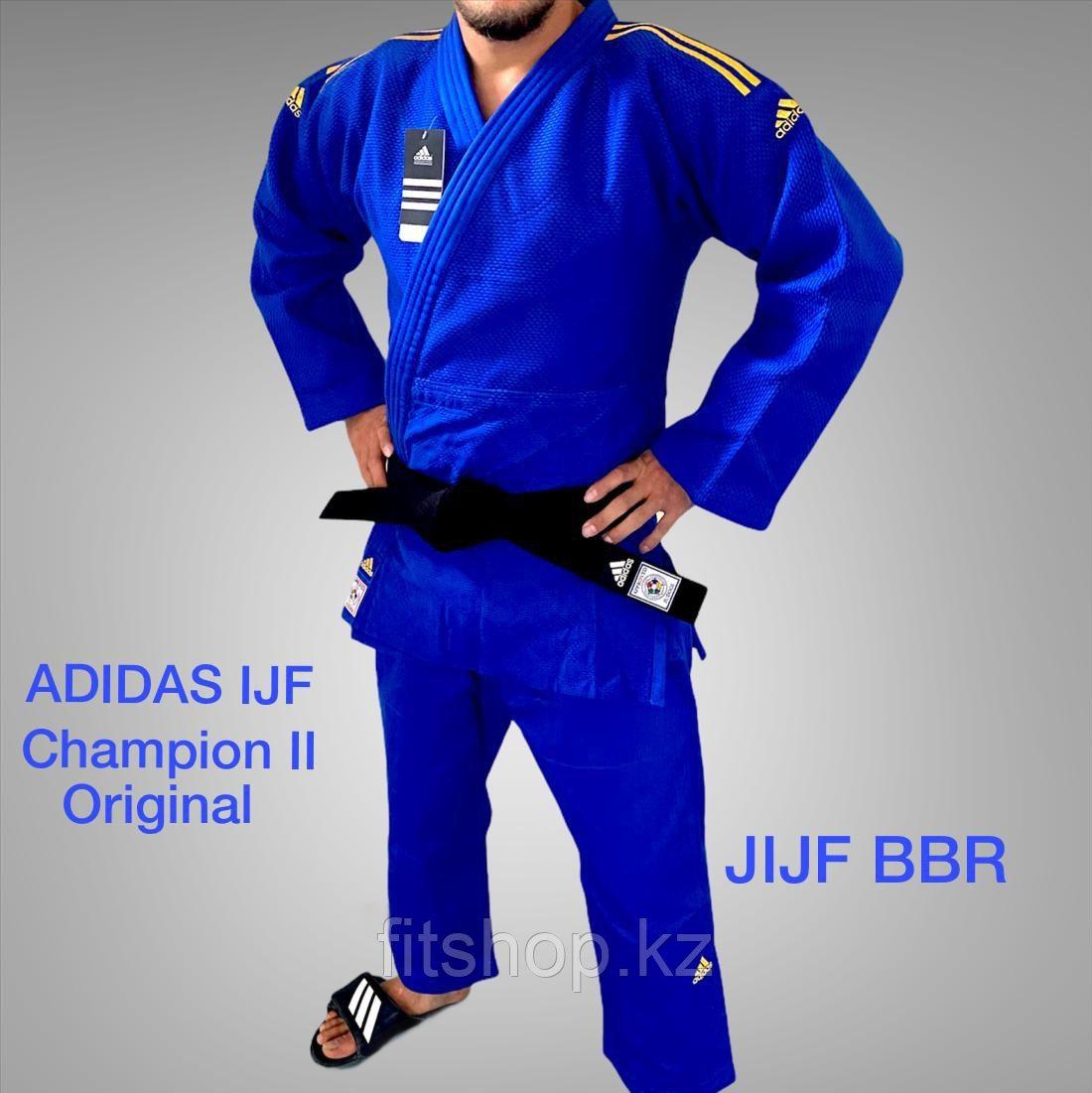 Кимоно для дзюдо Adidas Champion 2  Original IJF синее с золотыми лампасами
