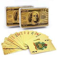 Колода игральных карт в пластиковом боксе «Золотой слиток» (Доллары)