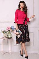 Женский осенний шифоновый нарядный юбочный костюм Мода Юрс 2520-1 фуксия 48р.