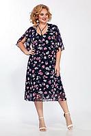 Женское летнее шифоновое нарядное большого размера платье LaKona 1221 синий_розовые_цветы 60р.