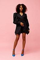 Женское осеннее хлопковое черное нарядное платье Beauty Style 3823 42р.