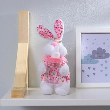 Мягкая игрушка «Ушастый зайка», с бутылочкой, цвета МИКС