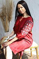 Женское летнее льняное красное нарядное платье Romgil 19с276-185 красный 46р.